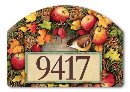 "Screen Door Wreath Yard DeSign Address Sign - 14"" x 10"""