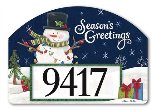 "Snowman Lights Yard DeSign Address Sign - 14"" x 10"""