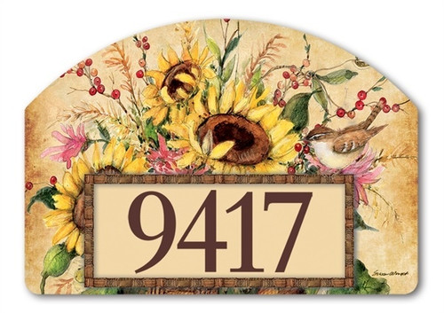 "Sunflower Mix Yard DeSign Address Sign - 14"" x 10"""