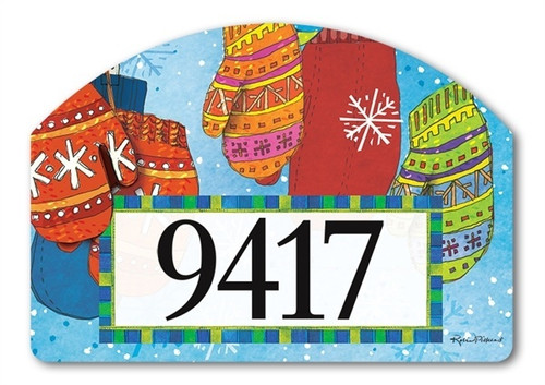 "Warm Woolen Mittens Yard DeSign Address Sign - 14"" x 10"""
