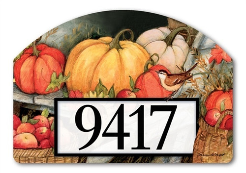 "Welcome Fall Pumpkins Yard DeSign Address Sign - 14"" x 10"""