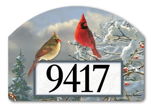 "Winter Cardinals Yard DeSign Address Sign - 14"" x 10"""