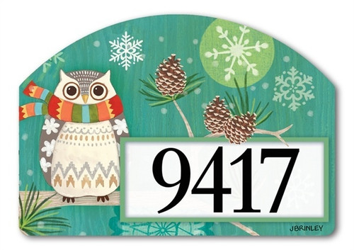 "Winter Owl Yard DeSign Address Sign - 14"" x 10"""