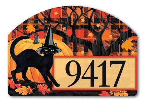 "Witch Hat Cat Yard DeSign Address Sign - 14"" x 10"""
