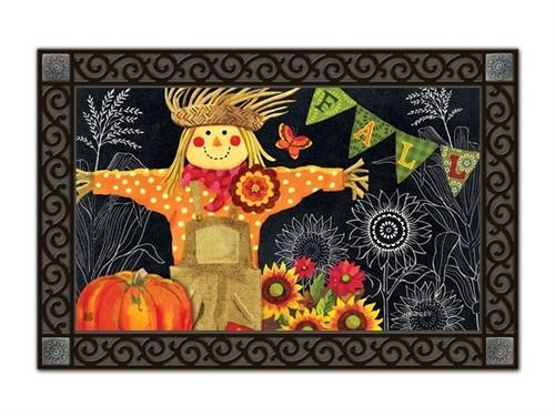 "Burlap Scarecrow MatMates Doormat - 18"" x 30"""