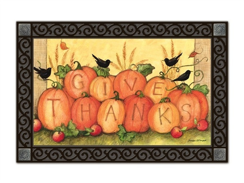 "Give Thanks Scarecrow MatMates Doormat - 18"" x 30"""