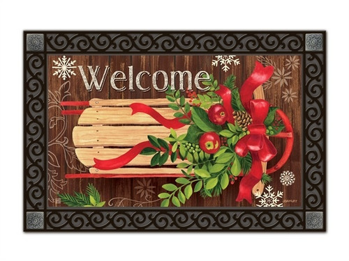 "Mountain Cabin Sled MatMates Doormat - 18"" x 30"""