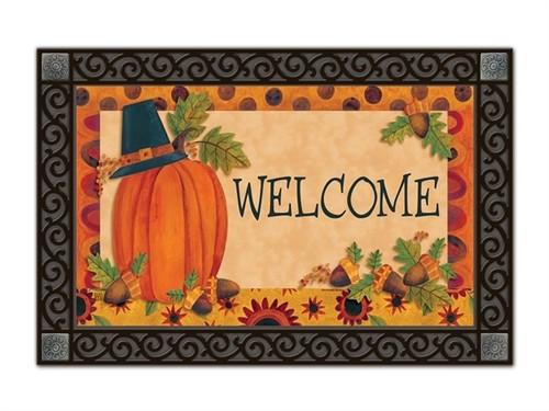 "Pilgrim Pumpkin MatMates Doormat - 18"" x 30"""