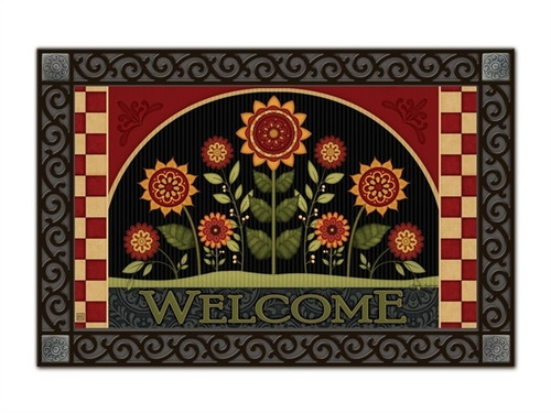 "Primitive Sunflowers MatMates Doormat - 18"" x 30"""