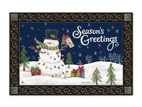 "Snowman Lights MatMates Doormat - 18"" x 30"""