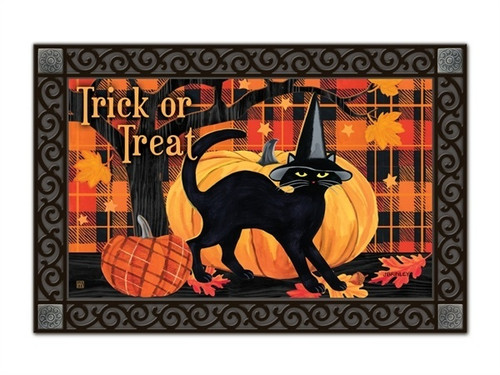 "Witch Hat Cat MatMates Doormat - 18"" x 30"""