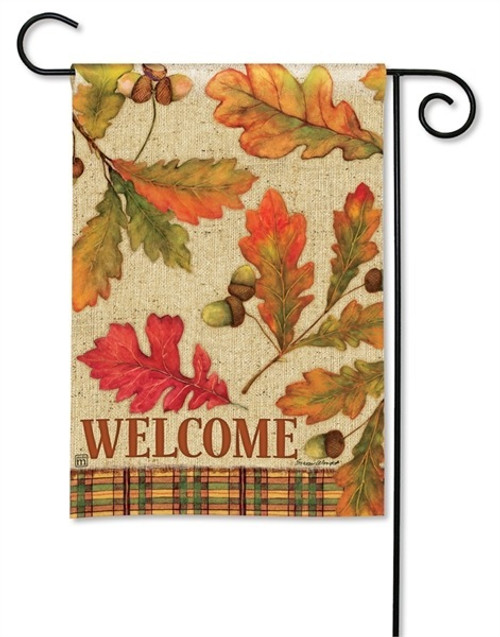 "Burlap Leaves Fall Garden Flag - 12.5"" x 18"" - BreezeArt"