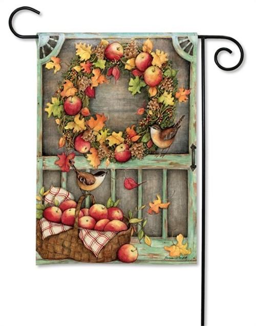 """Screen Door Wreath Garden Flag - 12.5"""" x 18"""" - BreezeArt"""
