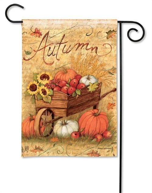 """Autumn Cart Fall Garden Flag - 12.5"""" x 18"""" - BreezeArt"""