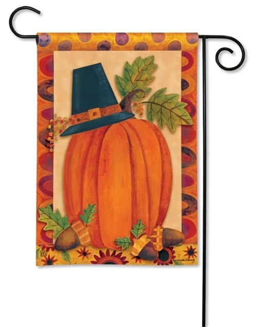 "Pilgrim Pumpkin Thanksgiving Garden Flag - 12.5"" x 18"" - BreezeArt"