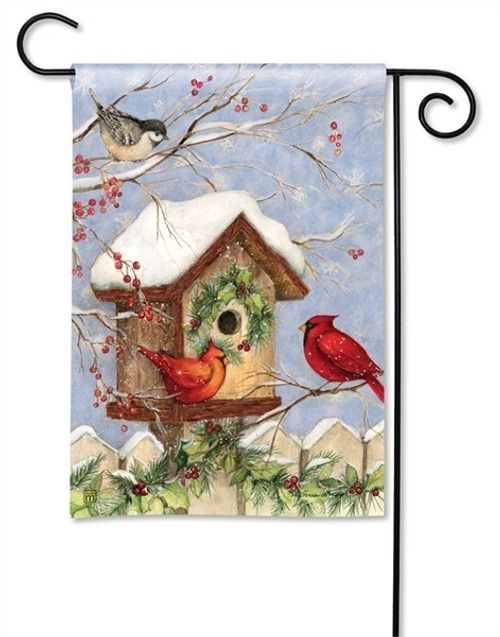 "Wintery Birdhouse Winter Garden Flag - 12.5"" x 18"" - BreezeArt"