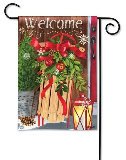 "Mountain Cabin Sled Winter Garden Flag - 12.5"" x 18"" - BreezeArt"