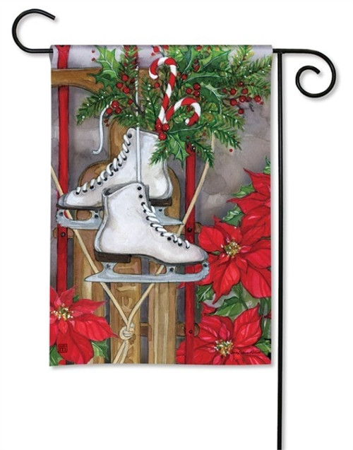 "Sled and Skates Winter Garden Flag - 12.5"" x 18"" - BreezeArt"