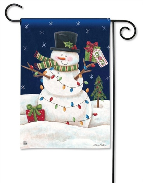 "Snowman Lights  Christmas Garden Flag - 12.5"" x 18"" - BreezeArt"