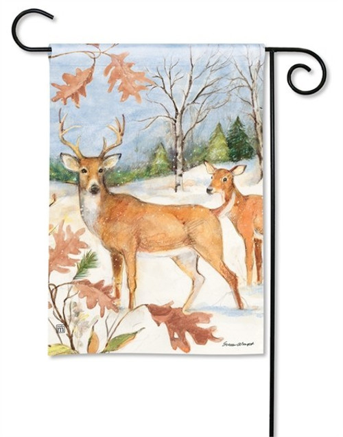 "Winter Deer Garden Flag - 12.5"" x 18"" - BreezeArt"
