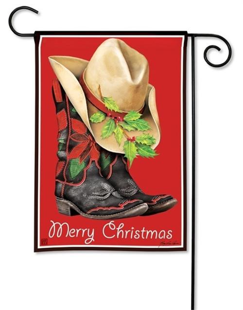 """Cowboy Christmas Garden Flag - 12.5"""" x 18"""" - BreezeArt"""