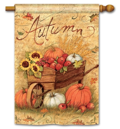 "Autumn Cart Fall House Flag - 28"" x 40"" - BreezeArt"