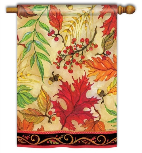 "Blaze of Glory Fall House Flag - 28"" x 40"" - BreezeArt"