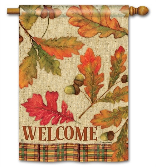 "Burlap Leaves Fall House Flag - 28"" x 40"" - BreezeArt"
