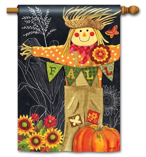 "Burlap Scarecrow Fall House Flag - 28"" x 40"" - BreezeArt"