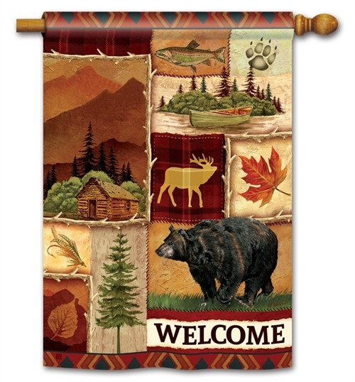 "Cabin Fever House Flag - 28"" x 40"" - BreezeArt - 2 Sided Message"