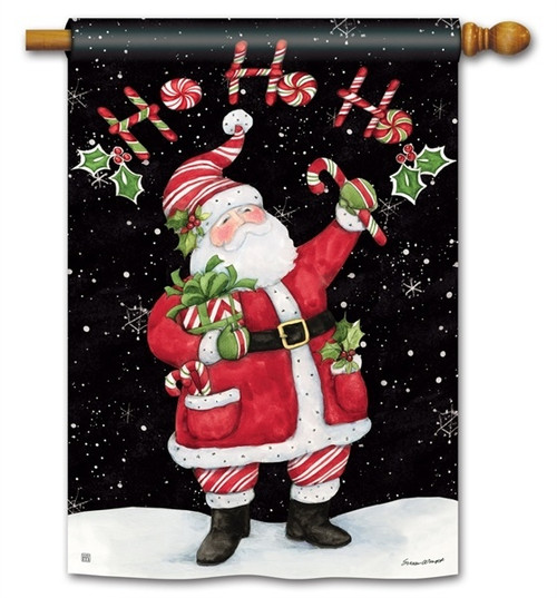 "Candy Cane Santa Christmas House Flag - 28"" x 40"" - BreezeArt"