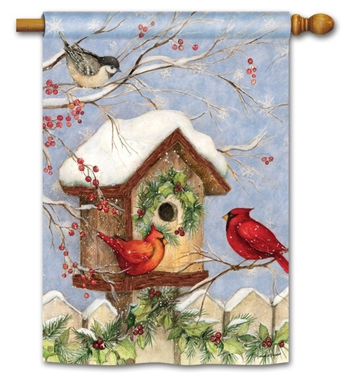 "Wintery Birdhouse Winter House Flag - 28"" x 40"" - BreezeArt"