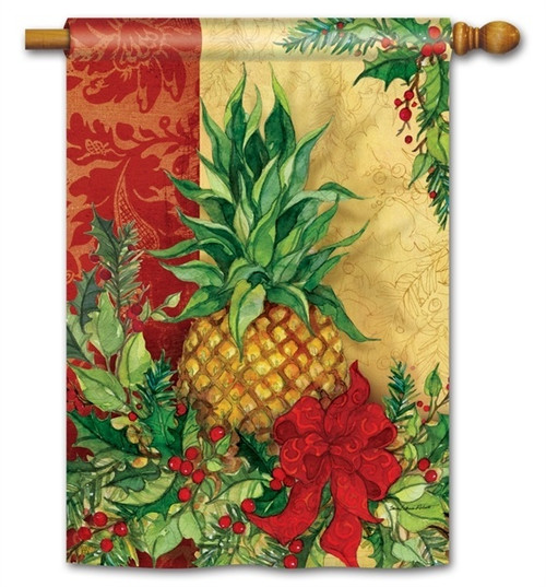 "Christmas Pineapple House Flag - 28"" x 40"" - BreezeArt"