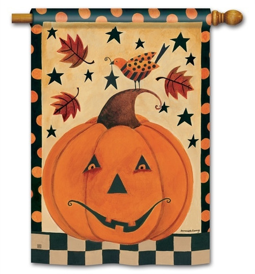 "Country Pumpkin Halloween House Flag - 28"" x 40"" - BreezeArt"
