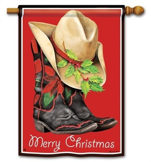 "Cowboy Christmas House Flag - 28"" x 40"" - BreezeArt - 2 Sided Message"