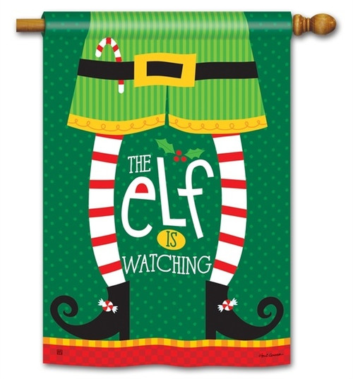 "Elf is Watching Christmas House Flag - 28"" x 40"" - BreezeArt"