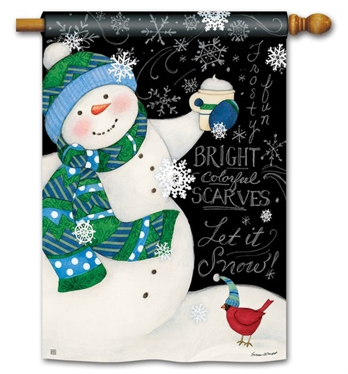"Frosty Fun Winter House Flag - 28"" x 40"" - BreezeArt"
