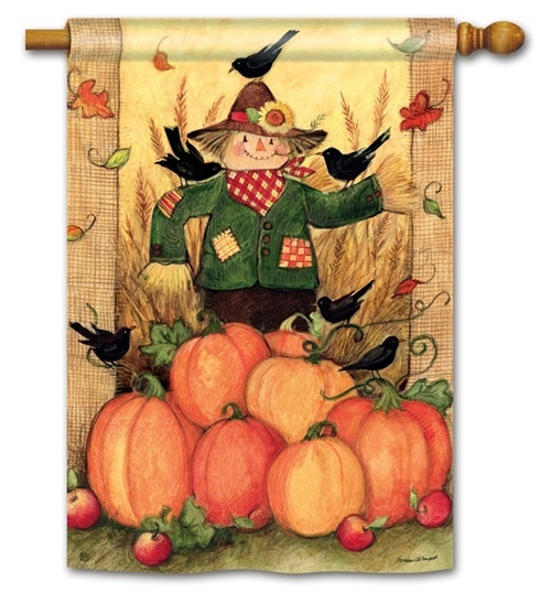 "Give Thanks Scarecrow House Flag - 28"" x 40"" - BreezeArt"