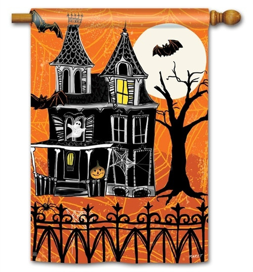 "Haunted House Halloween House Flag - 28"" x 40"" - BreezeArt"