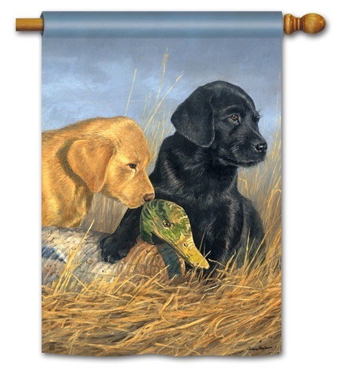"Lab Puppies House Flag - 28"" x 40"" - BreezeArt"