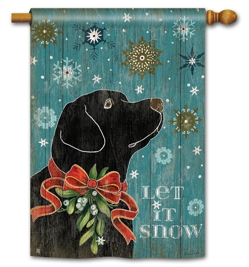"Let it Snow Lab Winter House Flag - 28"" x 40"" - BreezeArt"