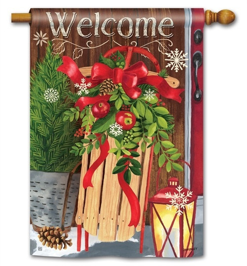 "Mountain Cabin Sled Winter House Flag - 28"" x 40"" - BreezeArt"