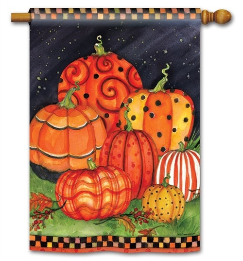 "Painted Pumpkins Fall House Flag - 28"" x 40"" - BreezeArt"
