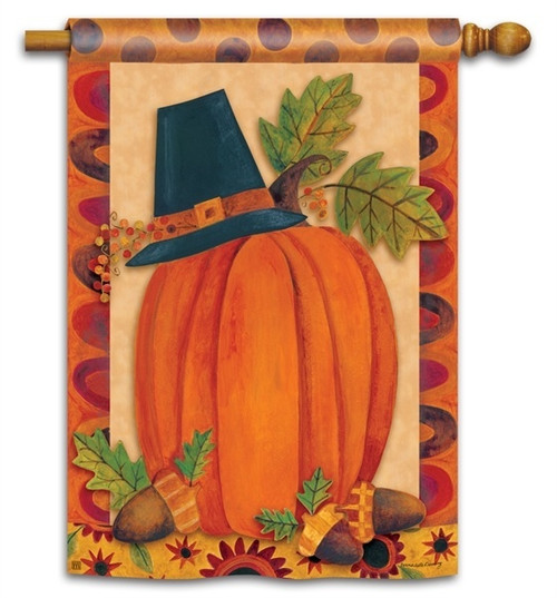 "Pilgrim Pumpkin Thanksgiving House Flag - 28"" x 40"" - BreezeArt"