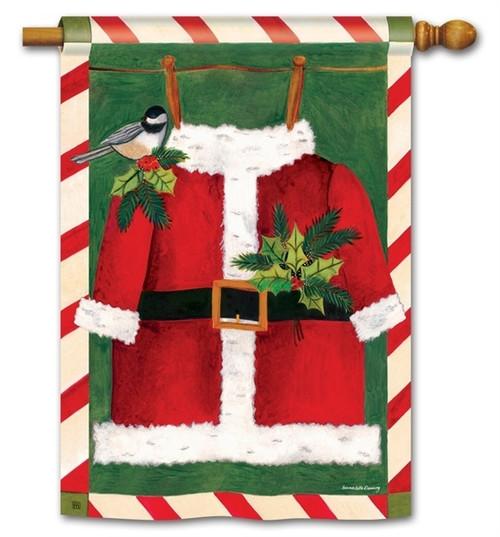 """Santa Suit Christmas House Flag - 28"""" x 40"""" - BreezeArt"""