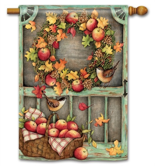 "Screen Door Wreath House Flag - 28"" x 40"" - BreezeArt"