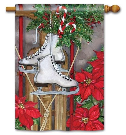 "Sled and Skates Winter House Flag - 28"" x 40"" - BreezeArt"