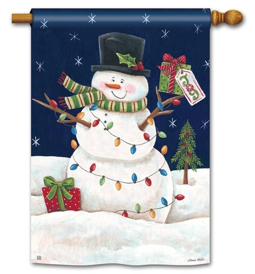 "Snowman Lights  Christmas House Flag - 28"" x 40"" - BreezeArt"