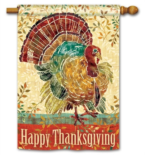 "Thanksgiving Turkey House Flag - 28"" x 40"" - BreezeArt - 2 Sided Message"