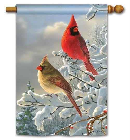 """Winter Cardinals House Flag - 28"""" x 40"""" - BreezeArt"""